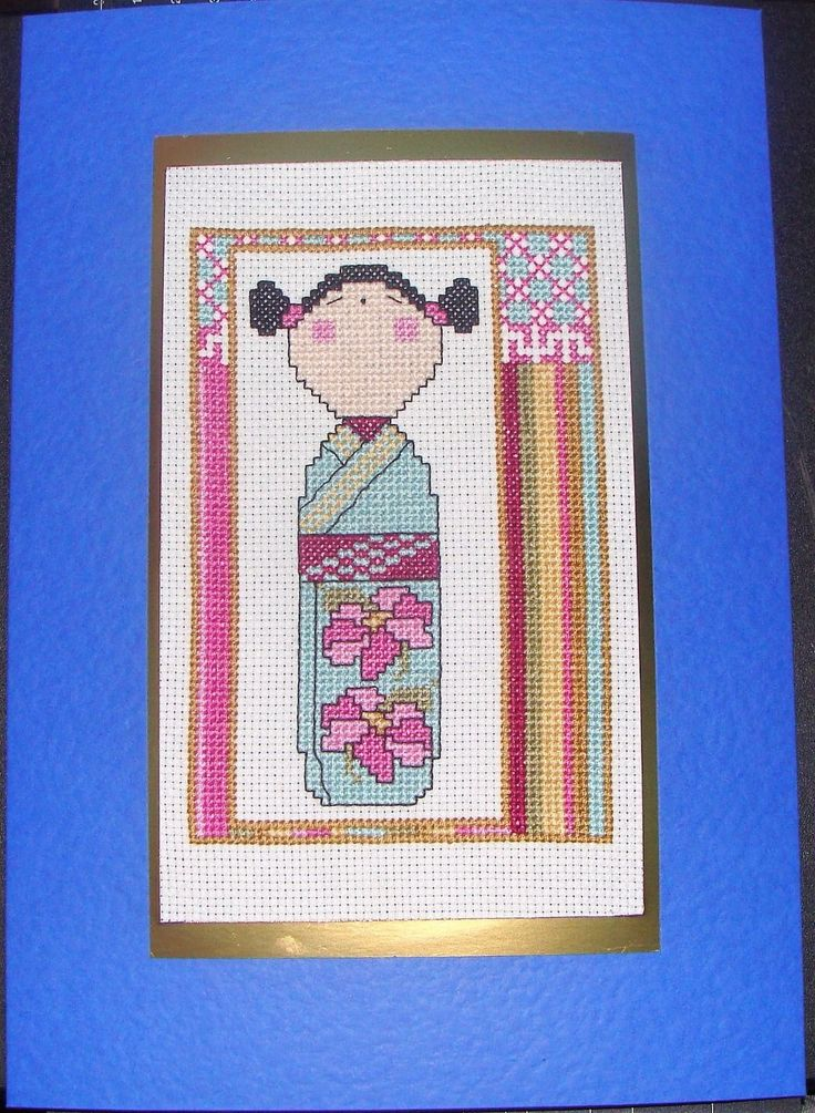 Completed Cross Stitch Extra Large Card - Beautiful Geisha Girl | eBay