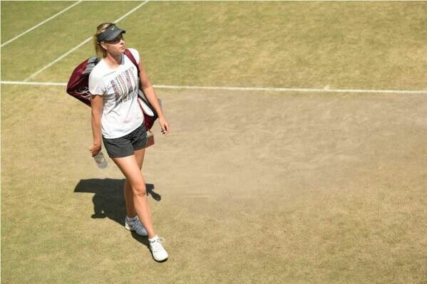 Maria Sharapova practice session ahead of her 4th round match against Kerber. Wimbledon 2014.