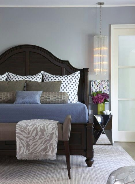 Gray White & Blue Bedroom Color Palette