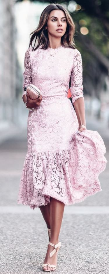 beautiful valentines day outfit / lace dress + bag + jacket + heels