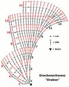 Häkelschrift Drachenschwanz …