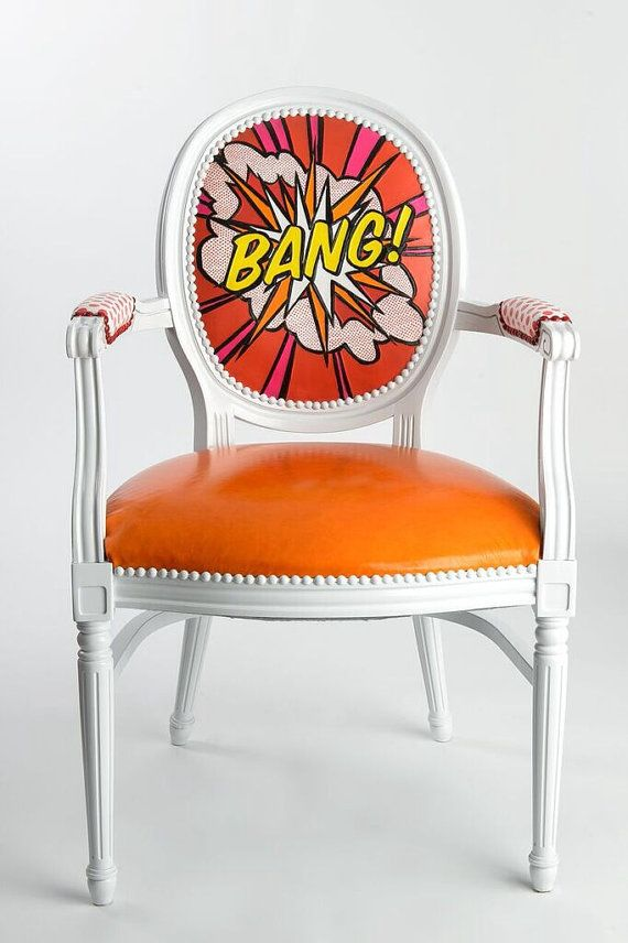 Leather Pop Art French Louis XVI upholstered armchair Handcarved and painted white red orange Pink dining chair