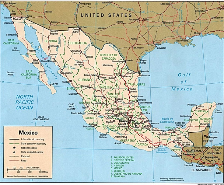 It is a photo of Eloquent Printable Map of Mexico