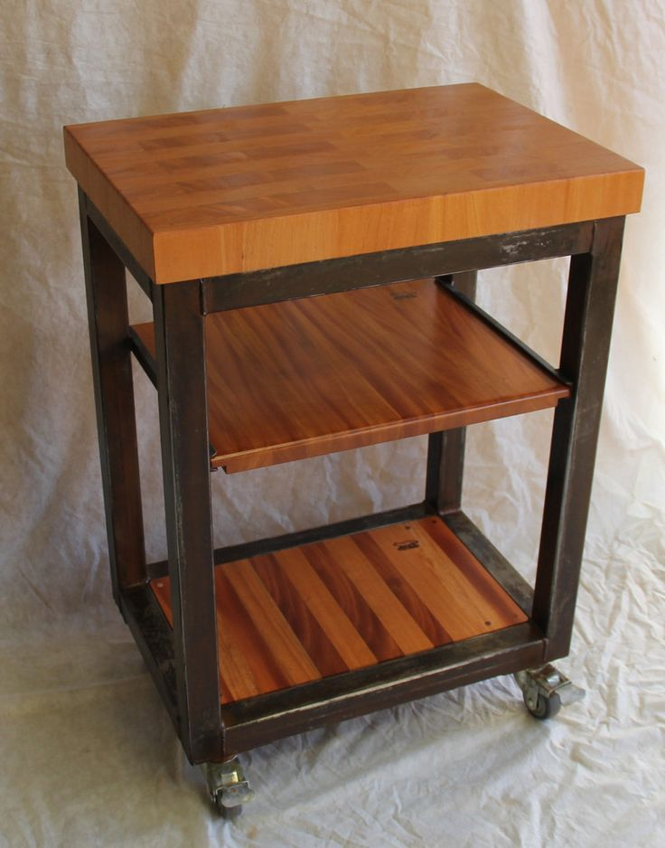 Luxury butcher Block island On Casters