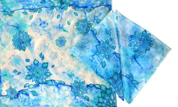 Hand-painted silk scarf  Blue Sempervivum square