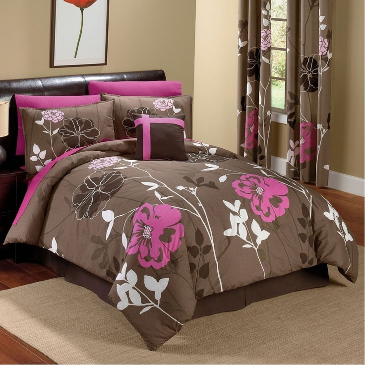Chocolate And Pink Floral Comforter Set For The Home