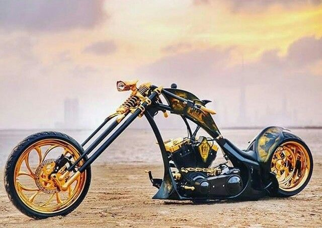 #BlackandGold Custom Chopper                                                                                                                                                                                 More