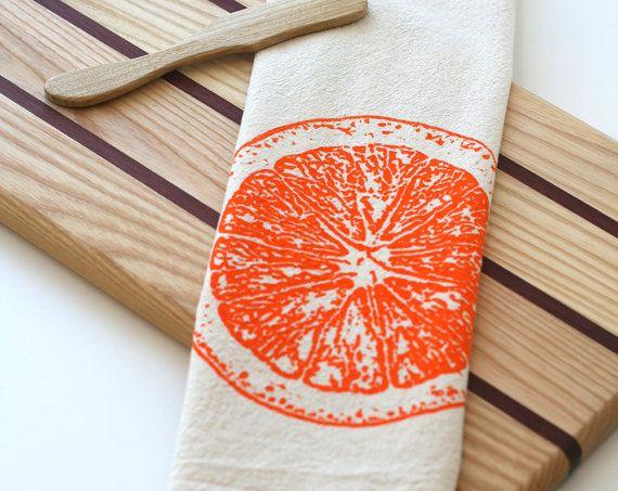 Natural Flour Sack Tea Towel  Orange Slice  by SproutedDesigns, $12.00