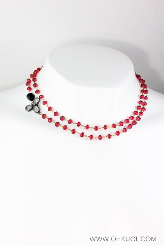 CHRISTMAS SALE Ruby Quartz and Black Onyx Necklace by OhKuol