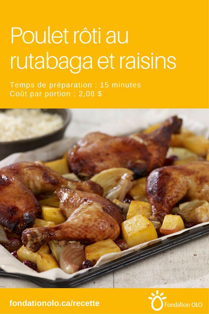Recette de poulet rôti au rutabaga et aux raisins, une recette savoureuse rapide et économique. Le mélange rutabaga et raisins est savoureux! --- Recette facile, Recette économique, Recette rapide, Recette nutritive --- #Poulet