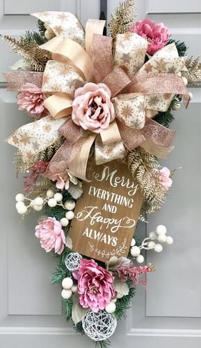 Merry Everything and Happy Always Floral Swag, Christmas Wreath, Christmas Swag