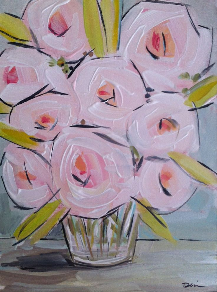 Abstract Peonies Flowers canvas pink lime gray original art by Marendevineart on Etsy