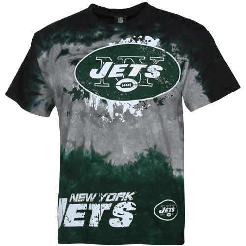 New york jets fade tie dye t shirt black silver green for T shirt printing stockton ca