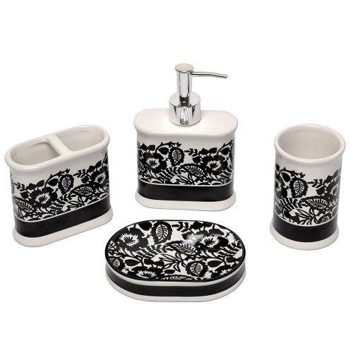 Famous Home Fashions Floral Damask 4 Piece Bath Set Black White Famous Home Fashions
