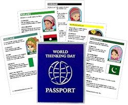 """Thinking Day Passports   Holds 24 4""""x 6"""" inside pages in side loading plastic sheets. Fits our recipe cards and fact cards. Clear cover holds an easily removeable printed inset."""