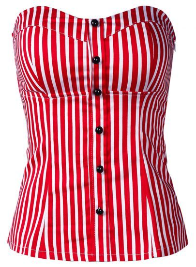 Red White Vertical Stripe Strapless Bandeau pictures
