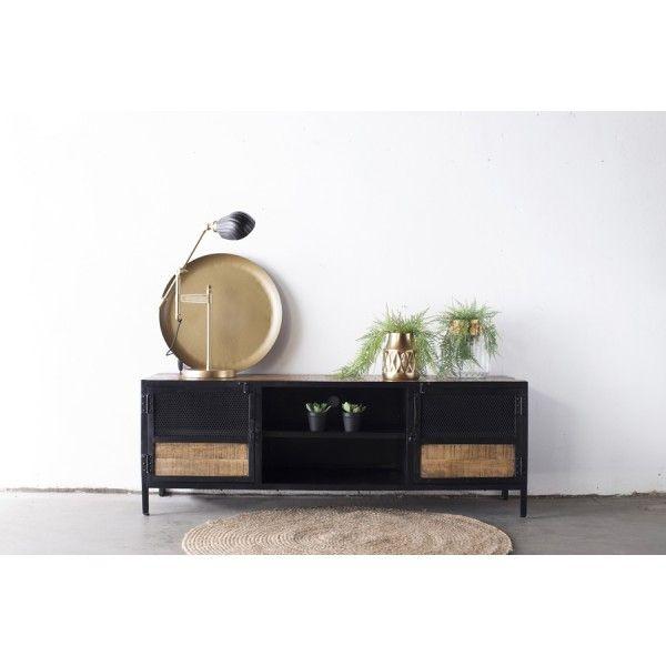 Tv Mobel Lowboard Kenneth 160 Cm Metall Und Mango Holz In 2020 Tv Mobel Tv Mobel Lowboard Lowboard Massivholz