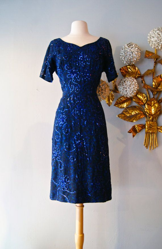 1950s Starry Midnight Sky Sequined Wiggle Dress By