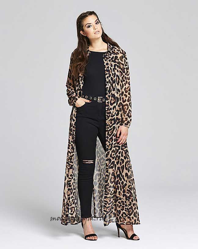 Леопардовое платье рубашка для полных
