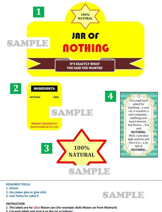 picture relating to Jar of Nothing Printable Label Free named Jar of Absolutely nothing Gag Reward White Elephant Reward - Printable
