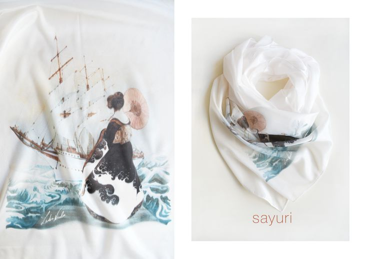 Sayuri Scarf, printed on organic silk with my asian painting. Enjoy! #sayuri #blue #scarf #silk #spring #ship #geisha #lidianicolae
