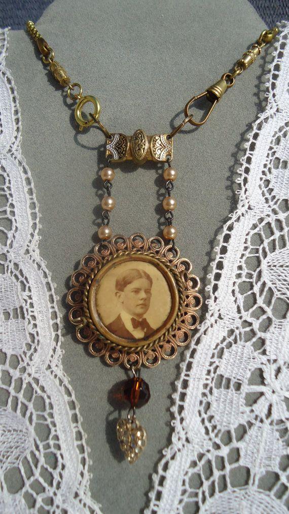 Assemblage Necklace, antique photo button, vintage jewelry bits ...