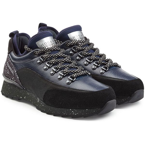 Hogan Rebel Suede and Leather Sneakers ($215) ❤ liked on Polyvore featuring shoes, sneakers, black, black lace up shoes, black leather shoes, lacing sneakers, black leather trainers and leather shoes