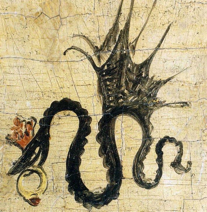 La Vouivre et son escarboucle   Insaisissable et redoutable, cette créature serpentine porte sur le front une pierre étincelante appelée escarboucle. Parée de son joyau qui éclaire son chemin, la Vouivre prend son envol à la tombée de la nuit pour aller chasser et s'abreuver dans les eaux calmes des rivières. Guidée par son escarboucle...   zimzimcarillon.canalblog.com   Serpent ailé avec une bague en rubis, (détail) - Lucas Cranach l'Ancien, 1514.