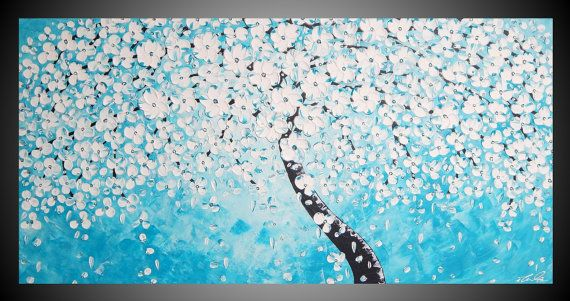 Headboard... Turquoise Tree Painting on large Canvas abstract painting Wall Art Cherry White Blossom Ready to Hang 48 x 24 FREE SHIPPING art by ilonka