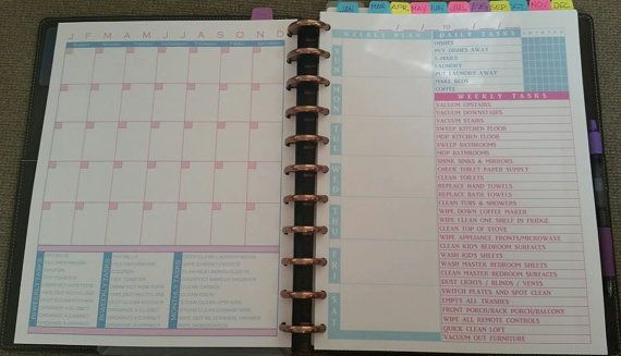 Discbound sans date calendrier avec votre liste de tâches personnalisé, imprimé, coups de poing et expédiées.    Parfait pour la ménagère ou de la