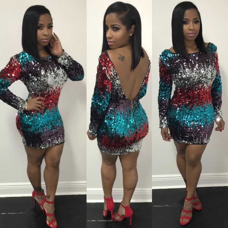 """Sparkle this Holiday season.✨✨✨ Dress/shoes: @shopgarbboutique #instore 2042 Magazine St. Nola"" Toya Wright"