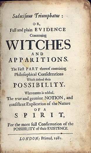 pamphlet on the existence of witches and ghosts london printed add to front of hand made book as halloween prop - Halloween History Witches