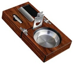 Executive  Folding Cigar Ashtray Set    Includes ashtray, guillotine cutter, punch cutter and cigar bed!    Condition: New  Shipping weight: 2 pounds (discount for local pickup)  Features: stainless steel cigar bed to hold your cigar, stainless steel ashtray, stainless steel punch cutter, stainless steel guillotine cutter, and high-gloss walnut finish