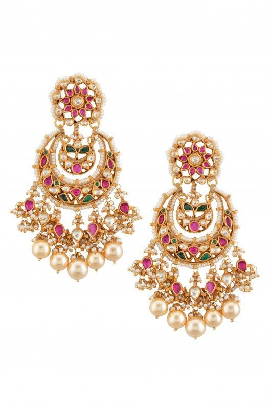 Stunning gold earrings studded with rubies, emeralds, diamonds and south sea pearls