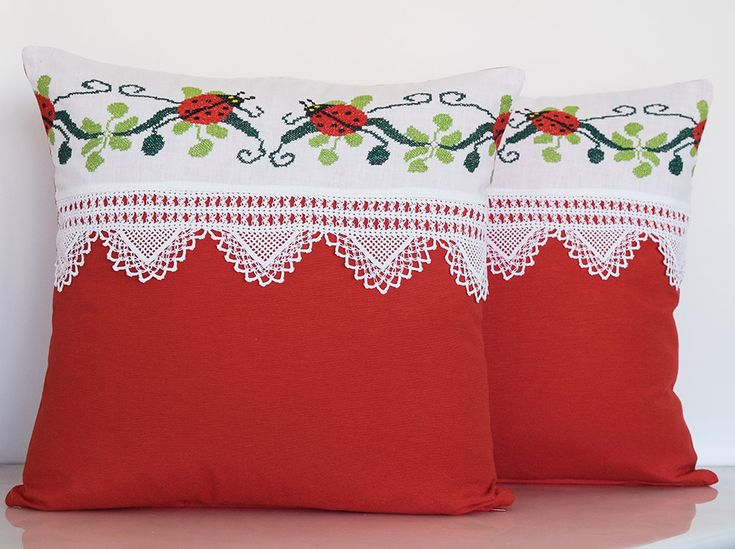 Vintage Decorative Handmade Pillow, Vintage Cross-stitch Pillow with Vintage Lace, Gift Pillow, Summer House, Beach House Decorative Pillow by TheSilknCotton on Etsy