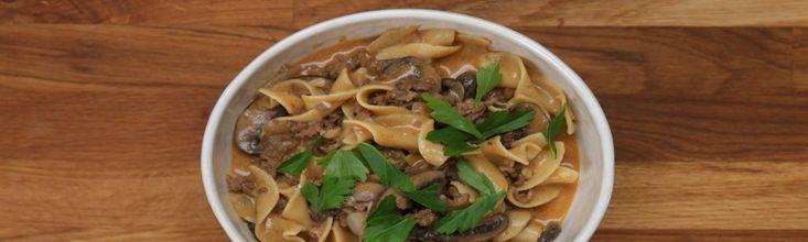 stroganoff egytálétel(marhából, disznóhúsból)