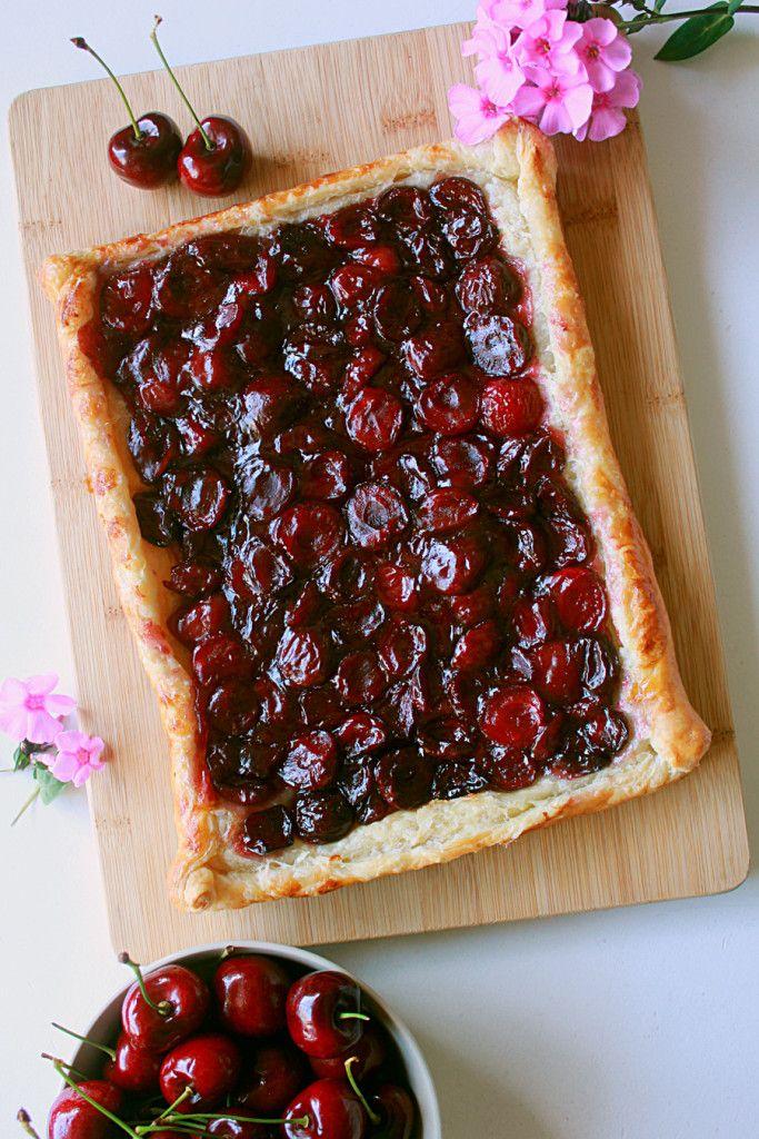 Cherry puff pastry tart