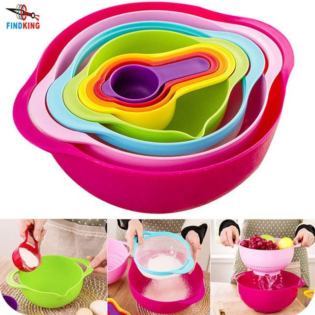 FINDKING marca de alta calidad de regalo del día de madre 8 unidades en un conjunto Multicolor creativa cocina set utensilios de cocina Tazón de cocina conjunto herramienta
