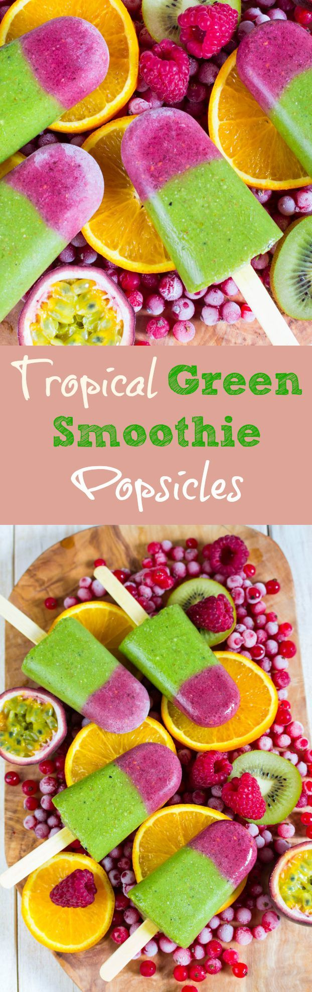 Tropical green smoothie popsicles. The perfect treat for hot summer days! Healthy, delicious, and so refreshing. Find the recipe at veganheaven.org #popsicle #greensmoothie #icecream
