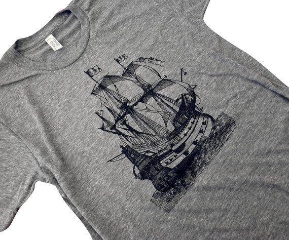 Mens Pirate Ship T-Shirt - Nautical Boat American Apparel Mens American Apparel Shirt - Available in sizes S, M, L, XL