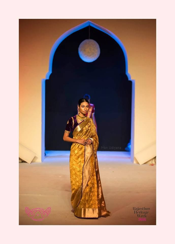 Mharo Des Collection - This gold Vidhi Kota saree with the velvet black blouse will make you stand out at any function.