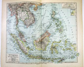 Vintage Original 1900 Map of Southeast Asia, Dutch East Indies & The Philippine Islands