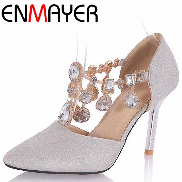 ENMAYER New Glittering Fashion Women Pumps Heels Wedges Rhinestone Shoes Women Summer Sandals for Party Platform Pumps Sale