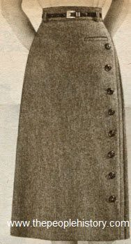 1952 Button Skirt Price: $4.98 Description Slim all wool flannel. Buttons make a bee line down the beautifully stitched fold at side, to emphas...