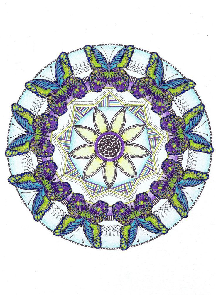 © Vlinders in blauw-groen-paars