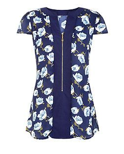 Pussycat Navy Floral Print Zip Front Blouse | New Look