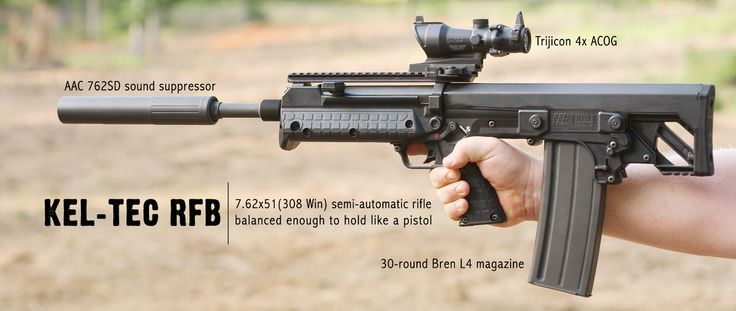 The Kel-Tec RFB (Rifle-Forward Ejection-Bullpup): a compact, balanced .308 bullpup rifle that accepts FAL magazines. The only discernible hitch out of the box is that it initially lacks any sort of sights.
