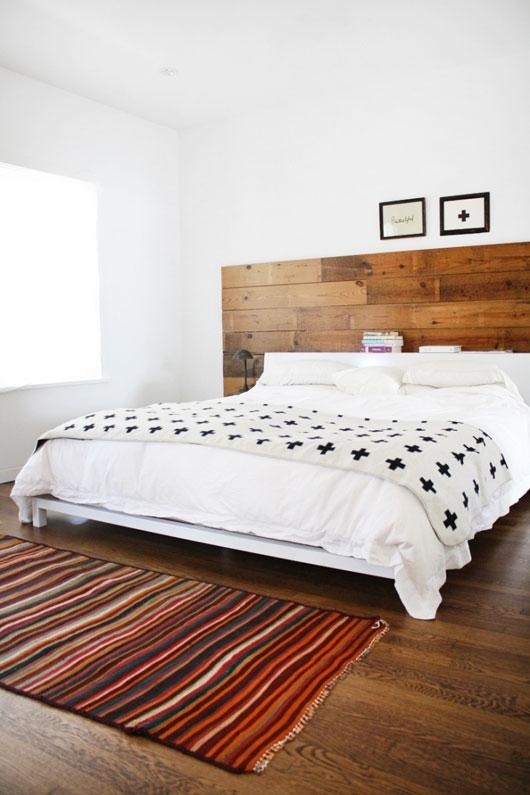 Wood pallet headboard for a rustic room
