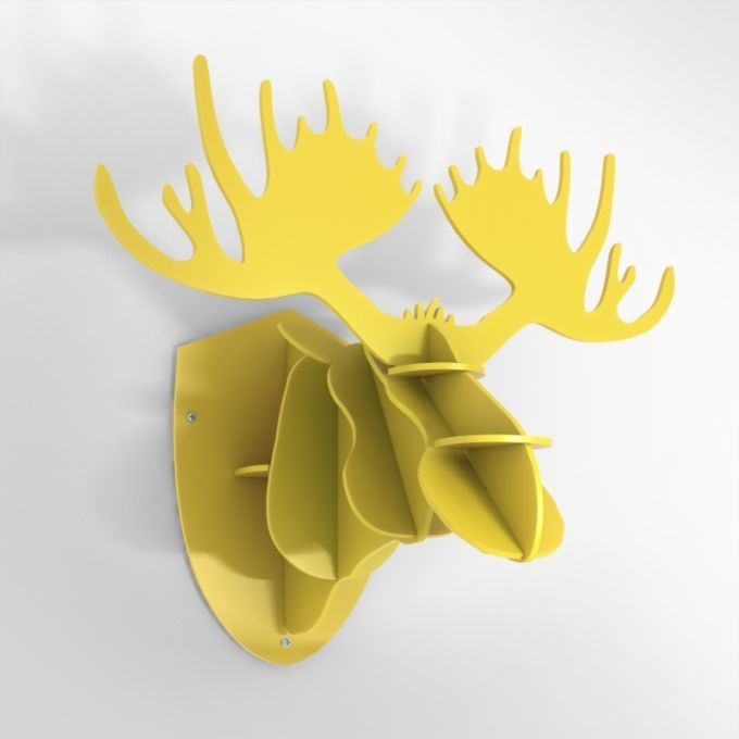 PVC Hunting Trophy - Yellow Moose Antlers. Made from PVC foam, cnc cutted. Also available in baltic birch plywood. Designed and made in Québec, by dezz.xyz.
