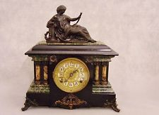 Antique Seth Thomas Adamantine Black Mantel Clock 1882 Woman Topper